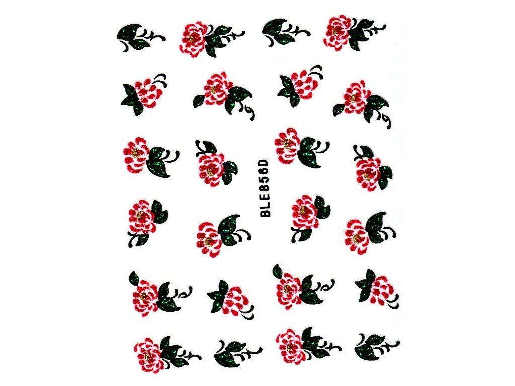 10064 nalepky red kvet