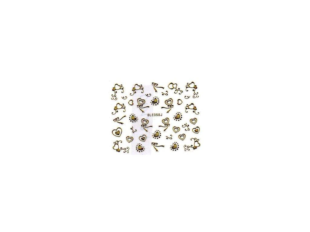 10556 nalepky zlate srdiecka