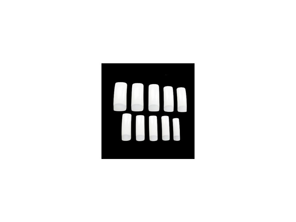 Tipy s dlhou nalepovacou plochou biele 100ks