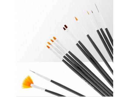 Sada štětců na gel, akryl a dekorace - 12 prvků - černé