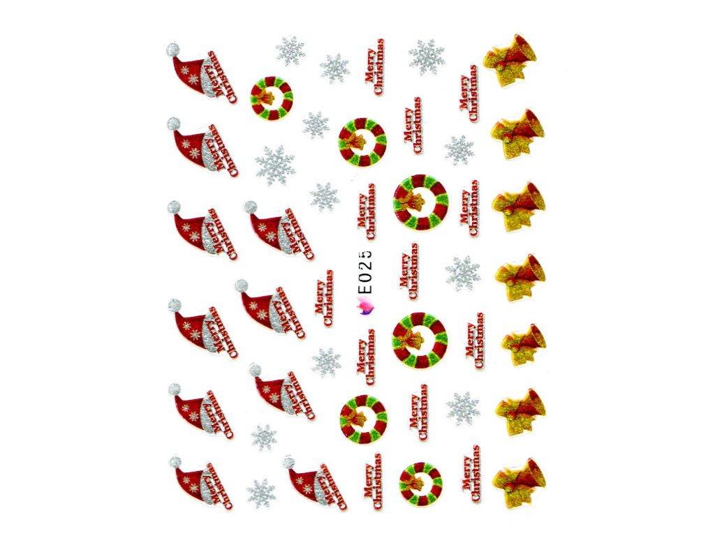 Nálepky vianočná čapica
