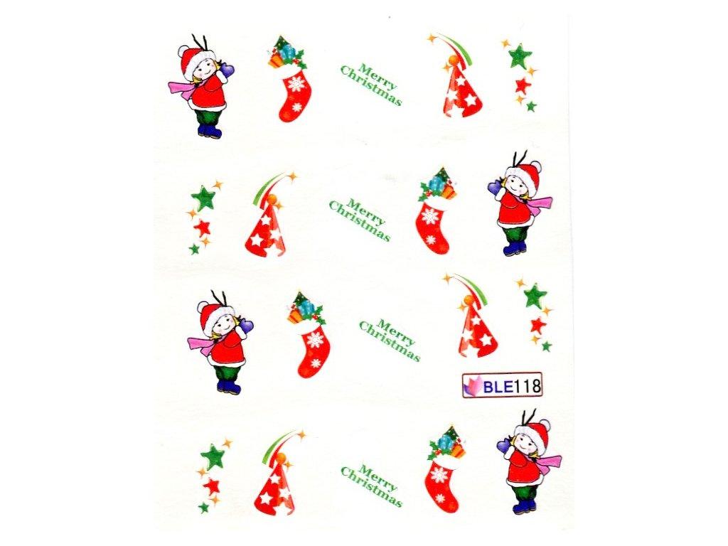 Nálepky vianočná ponožka