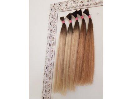 Exkluzívne ruské Hnedé vlasy ombré vlasy  60 - 65cm 100g