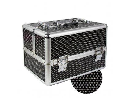 kuferek na lakiery czarny lakierowany pikowany