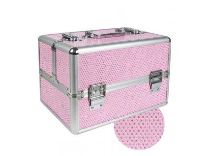 Kozmetický kufrík - Ružový so zirkónovými kamienkami