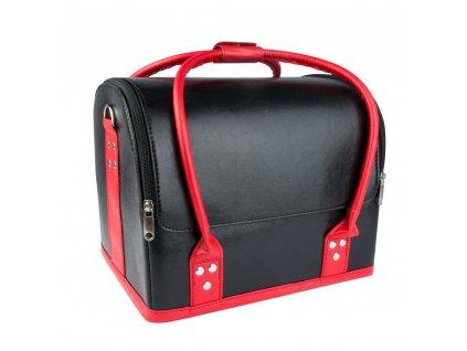 kuferek na kosmetyki i lampe z kratownica luksusowa torba model 01 czarny z czerwonym uchwytem