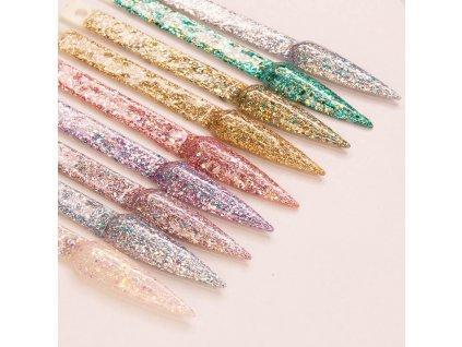 GÉL LAK MollyLac Crushed Diamonds Lady in Gold 5 ml Nr 535