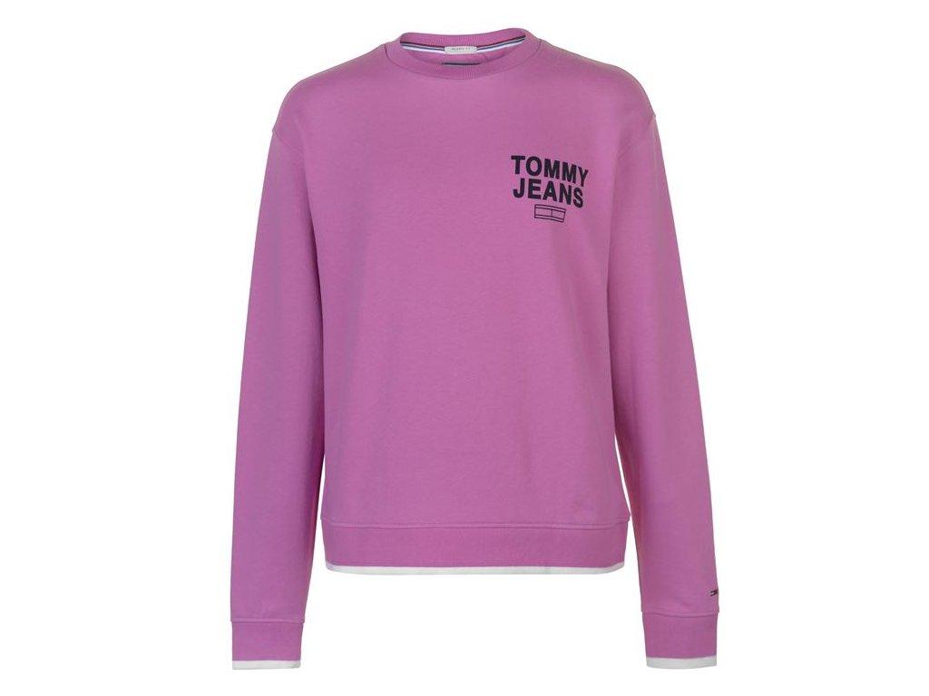 Mikina Tommy Hilfiger Jeans Graphic Crew Sweatshirt Unisex Lila
