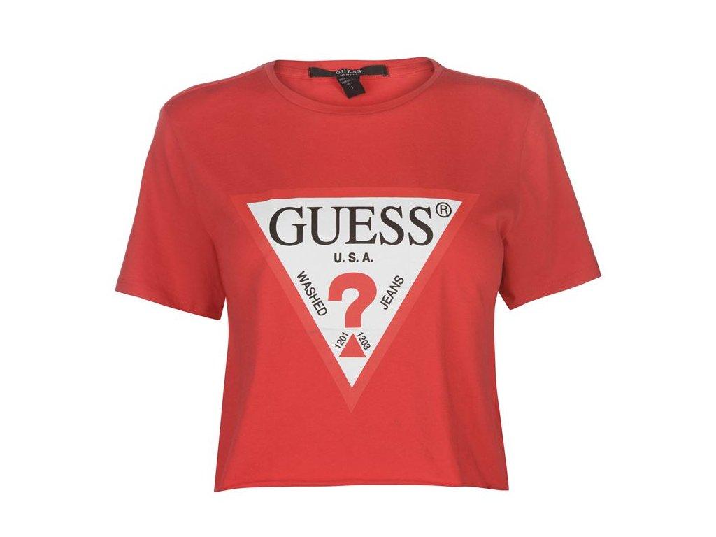 Dámské triko Guess Crop Logo T Červené