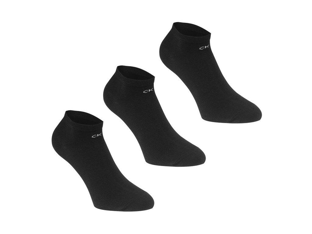 Dámské kotníkové ponožky Calvin Klein Logo 3 v balení Černé