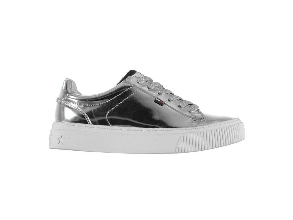 Dámské boty Tommy Hilfiger Flag Stříbrné