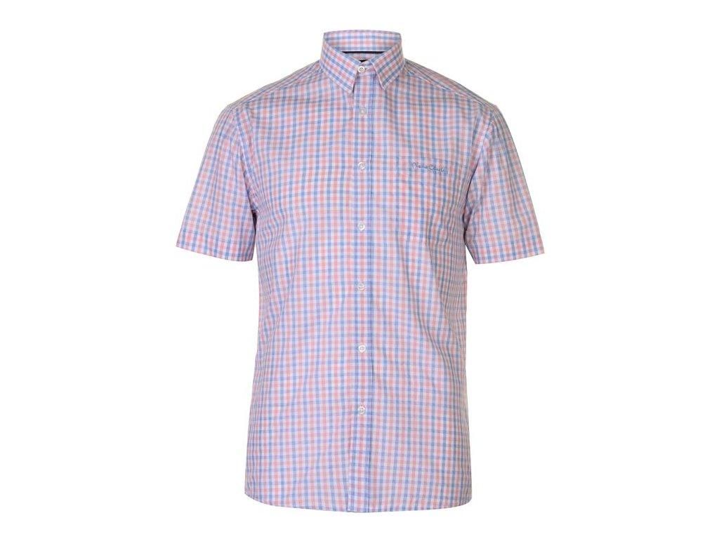 Pánská košile Pierre Cardin s krátkým rukávem Pink/Blue Check