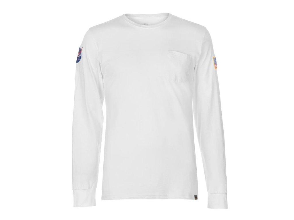 Pánské triko Alpha Industries NASA LS Bílé