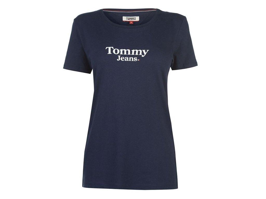 Dámské triko Tommy Hilfiger Jeans Flag Detail Black Iris