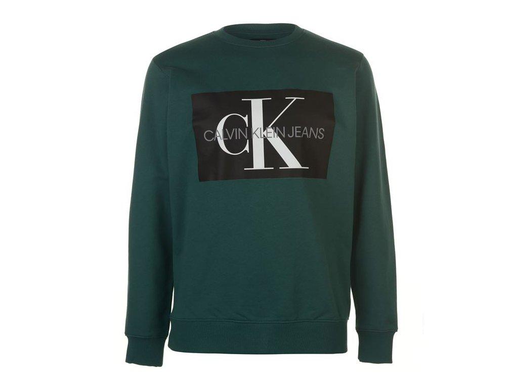 Pánská mikina Calvin Klein Jeans Mono Crew Sweater Zelená