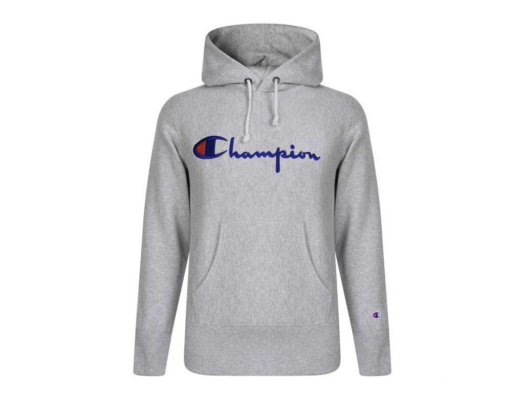 Mikina Champion Logo Hood Šedá