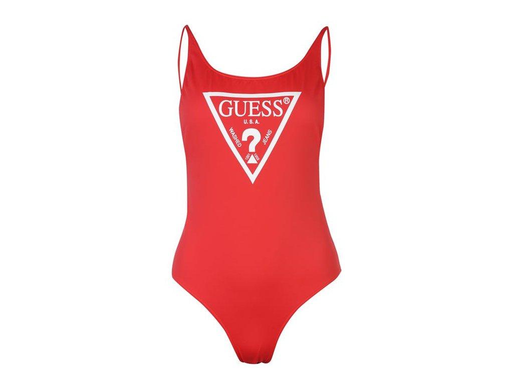 Jednodílné plavky Guess Logo Červené