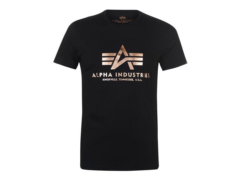 Pánské triko Alpha Industries Basic Černozlaté
