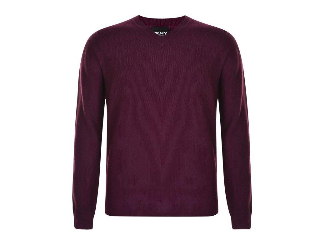 Pánský svetr DKNY V Neck Vínový