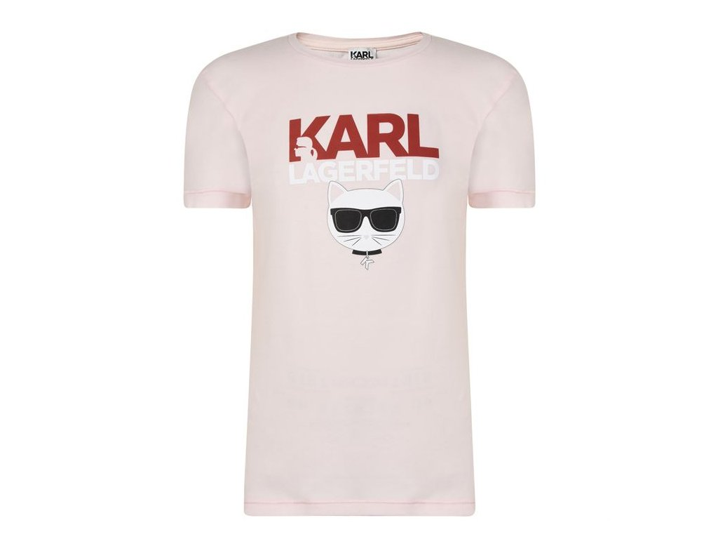 Dámské triko Karl Lagerfeld Logo Sleeve Růžové