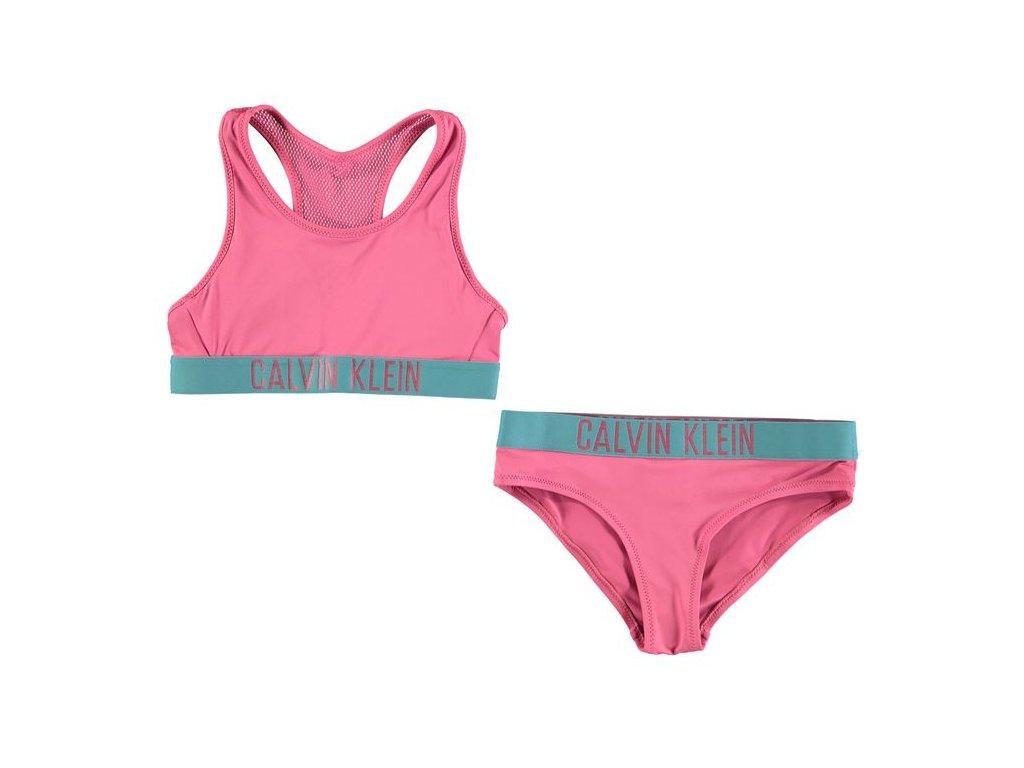 Plavky set podprsenka a kalhotky Calvin Klein Bralette Růžový