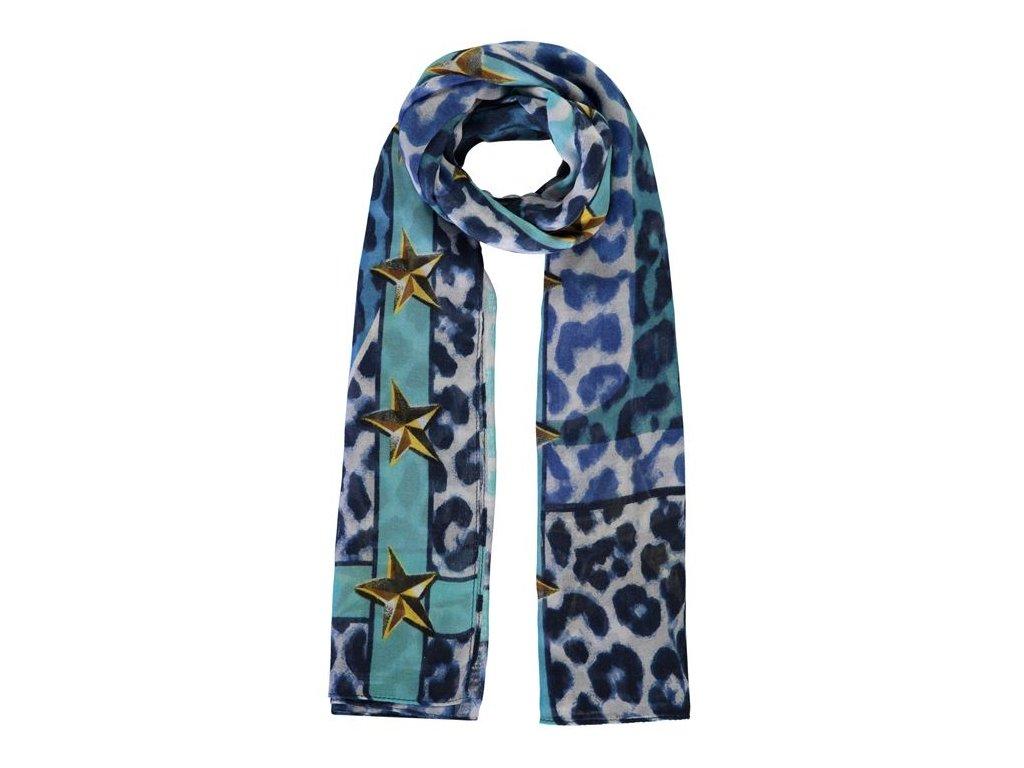 Šátek Guess Letter Leopard Modrý