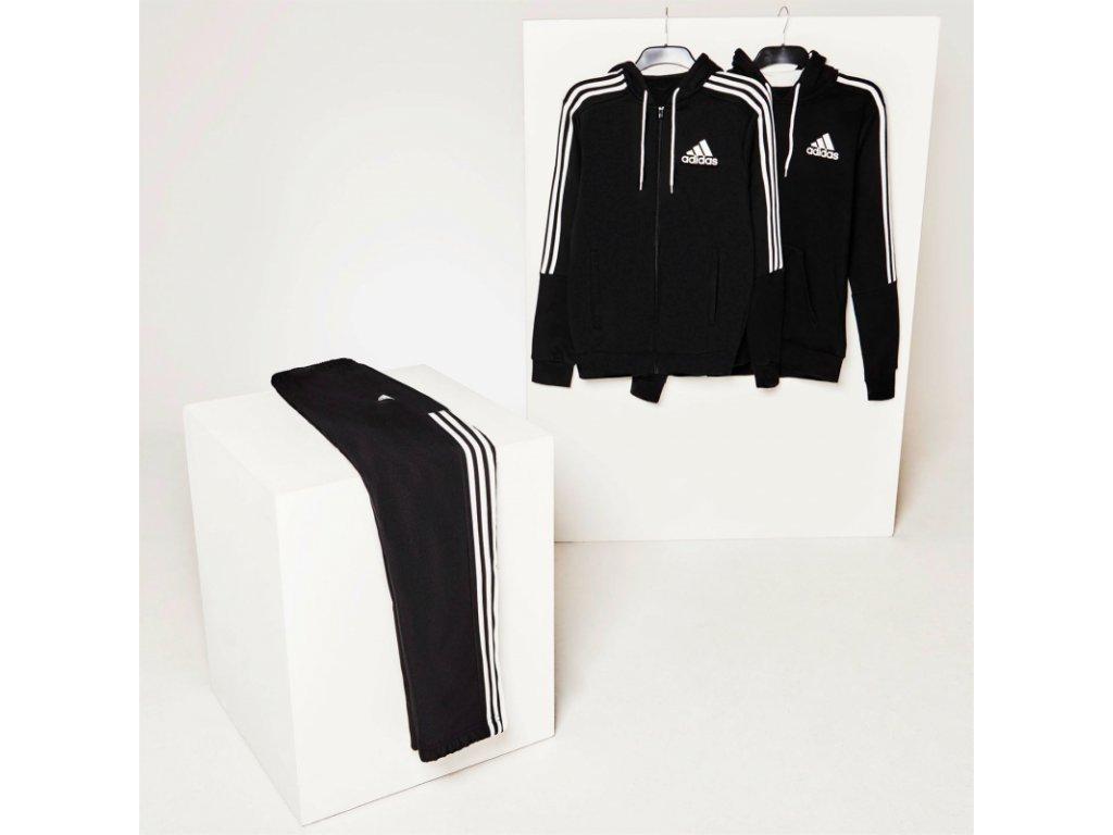 adidas 3 stripes logo pres hlavu s kapucou panske black white (2)