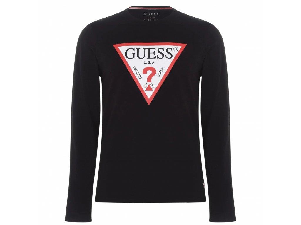 Pánské triko Guess Long Sleeve Original Černé