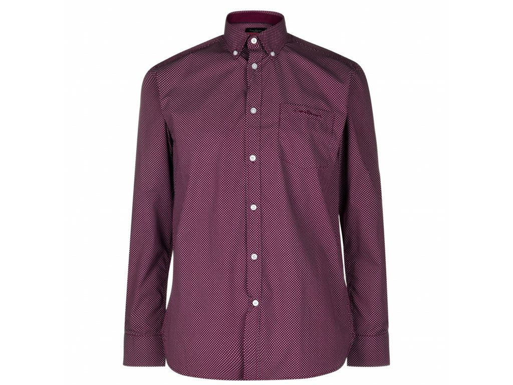 Pánská košile s dlouhým rukávem Pierre Cardin AOP Burgundy