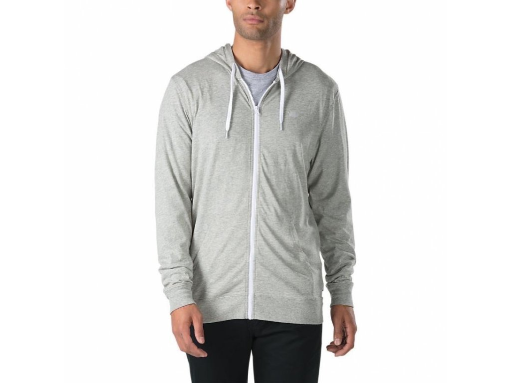 knit tops mens vans core basics knit zip hoodie cement heather 2