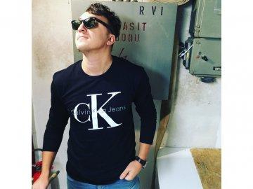 Pánské triko raglan Calvin Klein Černý