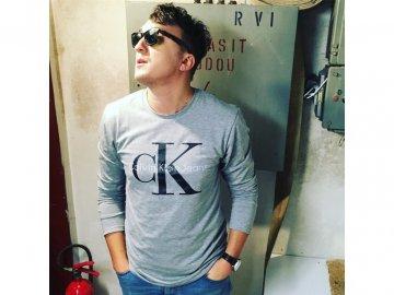 Pánské triko raglan Calvin Klein Šedý