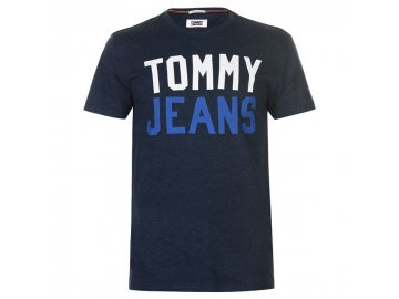 Pánské triko Tommy Hilfiger Jeans College Logo Iris Black