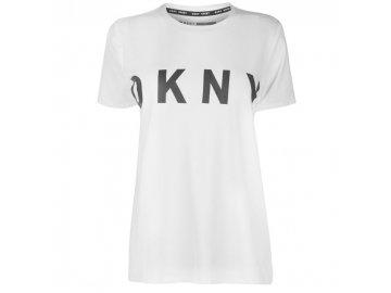 Dámské triko DKNY Logo Crew Bílé