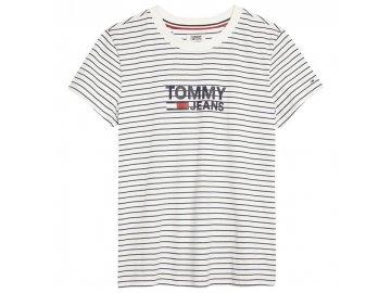 Dámské triko Tommy Hilfiger Jeans Stripe Graphic Bílé