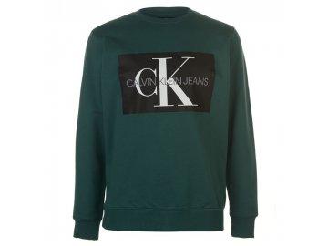 Mikina Calvin Klein Jeans Mono Crew Sweater Zelená