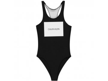 Dámské jednodílné plavky Calvin Klein Logo Černé