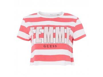 Dámské triko Guess Femme Crop Pruhované