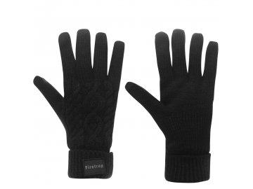 Rukavice Firetrap Cable Knit Gloves Černé