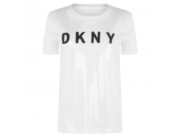 Dámské triko DKNY Logo Sequin Bílé