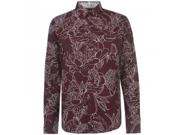 Pánská košile s dlouhým rukávem Pierre Cardin Large Floral Burgundy