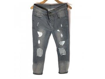 Skinny Ripped Kalhoty Černé