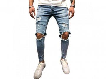Skinny Ripped Kalhoty Denim