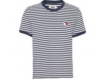 Dámské triko Tommy Hilfiger Heart Logo CLASCWHITE/IRIS