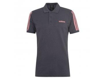 Pánské triko adidas 3 Stripes Logo Polo Šedé