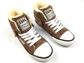Kotníkové boty British Knights s kožíškem Hnědé (Velikost 45)