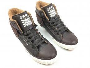 Kotníkové boty British Knights s kožíškem Temně hnědé (Velikost 45)