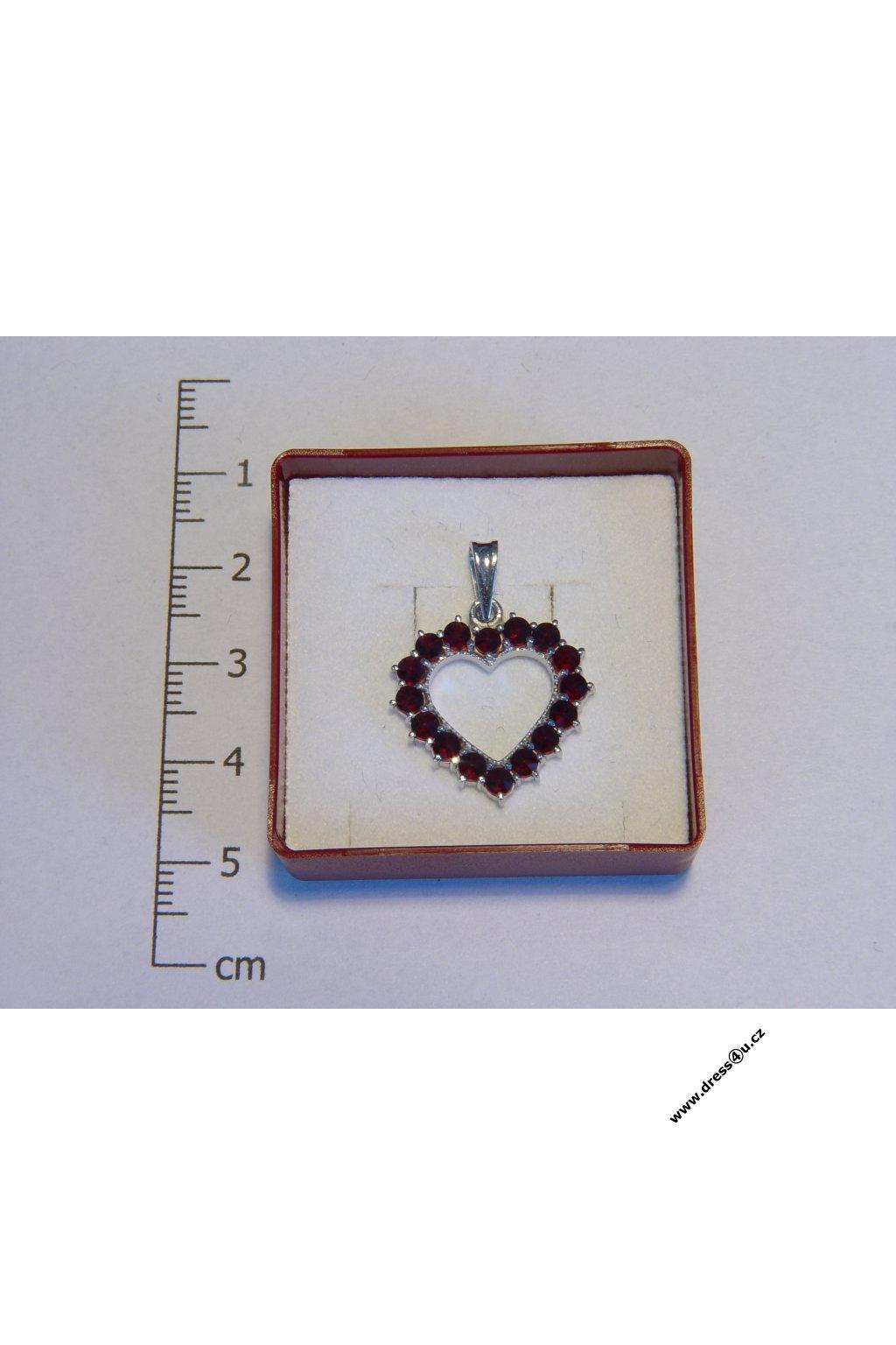 Český granát - přívěšek 6470026 - srdíčko