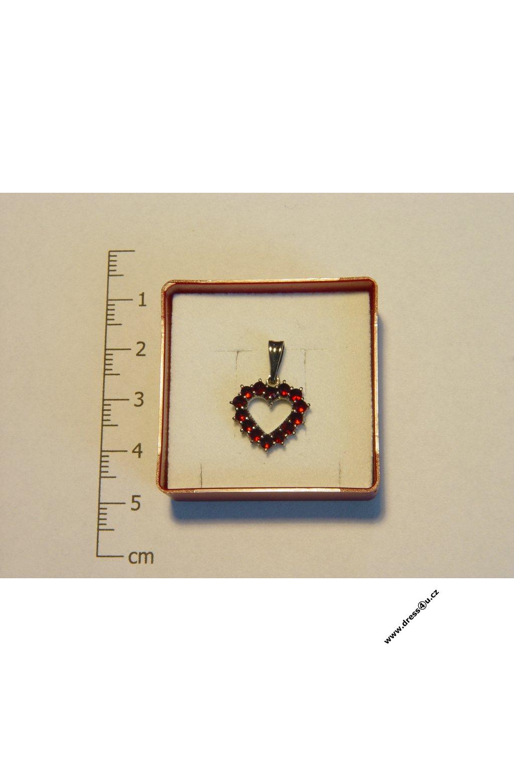 Český granát - přívěšek 6470009RU - srdíčko