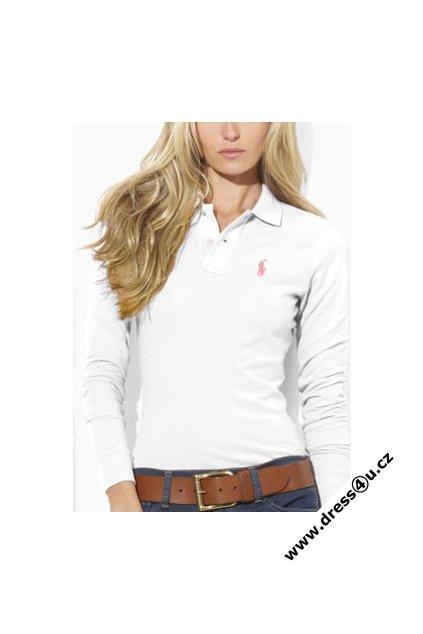 Ralph Lauren dámské polo triko bílé s dlouhým rukávem